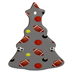 Balltiled Grey Ball Tennis Football Basketball Billiards Ornament (christmas Tree)  by Mariart