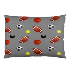 Balltiled Grey Ball Tennis Football Basketball Billiards Pillow Case (two Sides) by Mariart