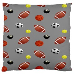 Balltiled Grey Ball Tennis Football Basketball Billiards Large Cushion Case (two Sides) by Mariart