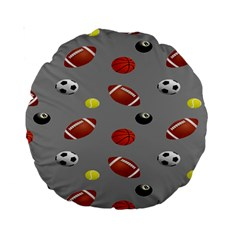 Balltiled Grey Ball Tennis Football Basketball Billiards Standard 15  Premium Round Cushions by Mariart
