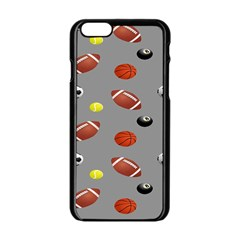 Balltiled Grey Ball Tennis Football Basketball Billiards Apple Iphone 6/6s Black Enamel Case by Mariart