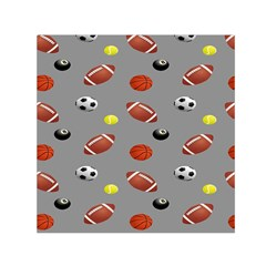Balltiled Grey Ball Tennis Football Basketball Billiards Small Satin Scarf (square) by Mariart