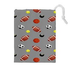Balltiled Grey Ball Tennis Football Basketball Billiards Drawstring Pouches (extra Large) by Mariart