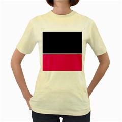 Black Pink Line White Women s Yellow T Shirt by Mariart