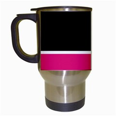 Black Pink Line White Travel Mugs (white) by Mariart