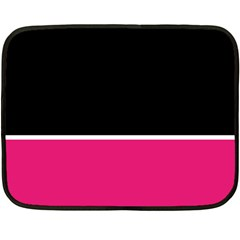 Black Pink Line White Double Sided Fleece Blanket (mini)  by Mariart