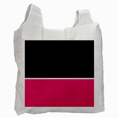 Black Pink Line White Recycle Bag (one Side) by Mariart