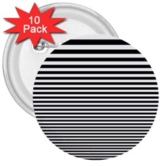 Black White Line 3  Buttons (10 Pack)  by Mariart