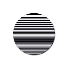 Black White Line Rubber Round Coaster (4 Pack)  by Mariart