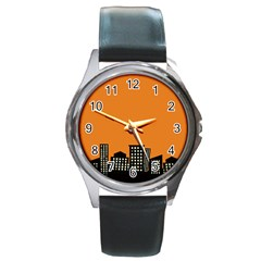City Building Orange Round Metal Watch by Mariart