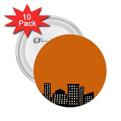 City Building Orange 2 25  Buttons (10 Pack)