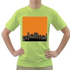 City Building Orange Green T Shirt by Mariart