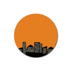 City Building Orange Magnet 3  (round) by Mariart