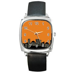 City Building Orange Square Metal Watch by Mariart