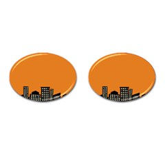 City Building Orange Cufflinks (oval) by Mariart