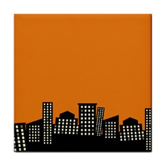 City Building Orange Face Towel by Mariart