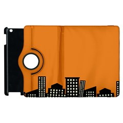 City Building Orange Apple Ipad 3/4 Flip 360 Case by Mariart
