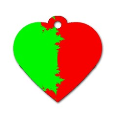 Critical Points Line Circle Red Green Dog Tag Heart (one Side) by Mariart