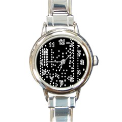Circle Plaid Black White Round Italian Charm Watch by Mariart
