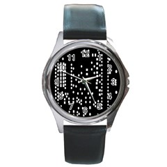 Circle Plaid Black White Round Metal Watch by Mariart