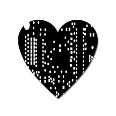 Circle Plaid Black White Heart Magnet by Mariart