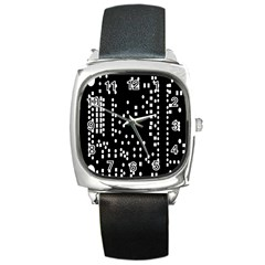Circle Plaid Black White Square Metal Watch by Mariart