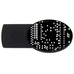 Circle Plaid Black White Usb Flash Drive Oval (4 Gb)
