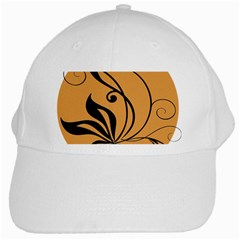 Black Brown Floral Symbol White Cap by Mariart