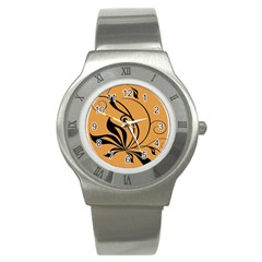 Black Brown Floral Symbol Stainless Steel Watch by Mariart