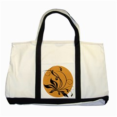 Black Brown Floral Symbol Two Tone Tote Bag by Mariart