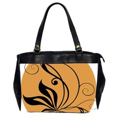 Black Brown Floral Symbol Office Handbags (2 Sides)  by Mariart