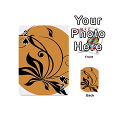 Black Brown Floral Symbol Playing Cards 54 (mini)  by Mariart