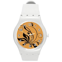 Black Brown Floral Symbol Round Plastic Sport Watch (m) by Mariart