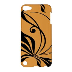 Black Brown Floral Symbol Apple Ipod Touch 5 Hardshell Case by Mariart