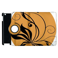 Black Brown Floral Symbol Apple Ipad 3/4 Flip 360 Case