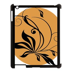 Black Brown Floral Symbol Apple Ipad 3/4 Case (black) by Mariart