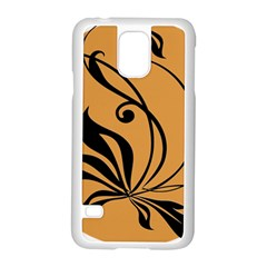 Black Brown Floral Symbol Samsung Galaxy S5 Case (white) by Mariart