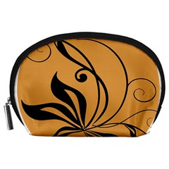 Black Brown Floral Symbol Accessory Pouches (large)