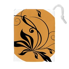Black Brown Floral Symbol Drawstring Pouches (extra Large) by Mariart