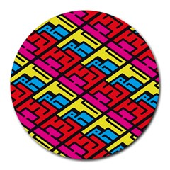 Color Red Yellow Blue Graffiti Round Mousepads by Mariart