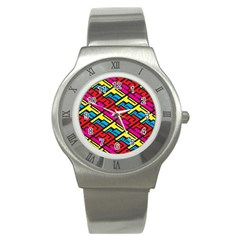 Color Red Yellow Blue Graffiti Stainless Steel Watch by Mariart
