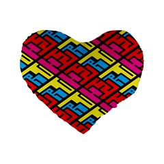 Color Red Yellow Blue Graffiti Standard 16  Premium Heart Shape Cushions by Mariart