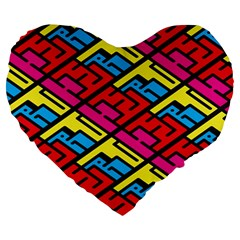 Color Red Yellow Blue Graffiti Large 19  Premium Heart Shape Cushions by Mariart