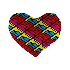 Color Red Yellow Blue Graffiti Standard 16  Premium Flano Heart Shape Cushions by Mariart