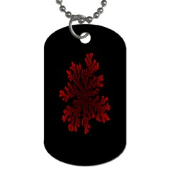 Dendron Diffusion Aggregation Flower Floral Leaf Red Black Dog Tag (one Side) by Mariart