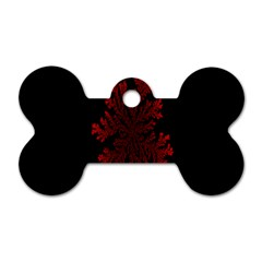 Dendron Diffusion Aggregation Flower Floral Leaf Red Black Dog Tag Bone (one Side) by Mariart