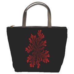 Dendron Diffusion Aggregation Flower Floral Leaf Red Black Bucket Bags by Mariart