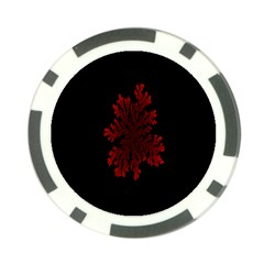 Dendron Diffusion Aggregation Flower Floral Leaf Red Black Poker Chip Card Guard (10 Pack) by Mariart
