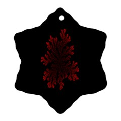 Dendron Diffusion Aggregation Flower Floral Leaf Red Black Snowflake Ornament (two Sides) by Mariart