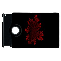 Dendron Diffusion Aggregation Flower Floral Leaf Red Black Apple Ipad 3/4 Flip 360 Case by Mariart